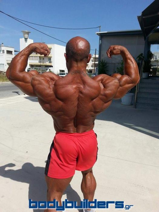Michael Kefalianos pochi giorni prima dell'Arnold Classic Europe 2014 posa doppi bicipiti di schiena