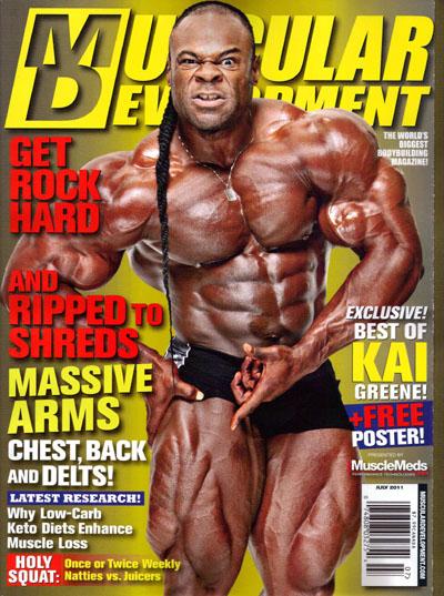 le cover delle riviste di bodybuilding dedicate a Kai Greene pro ifbb