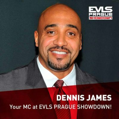dennis james pro ifbb presentatore dell'EVL's PRAGUE PRO IFBB 2017