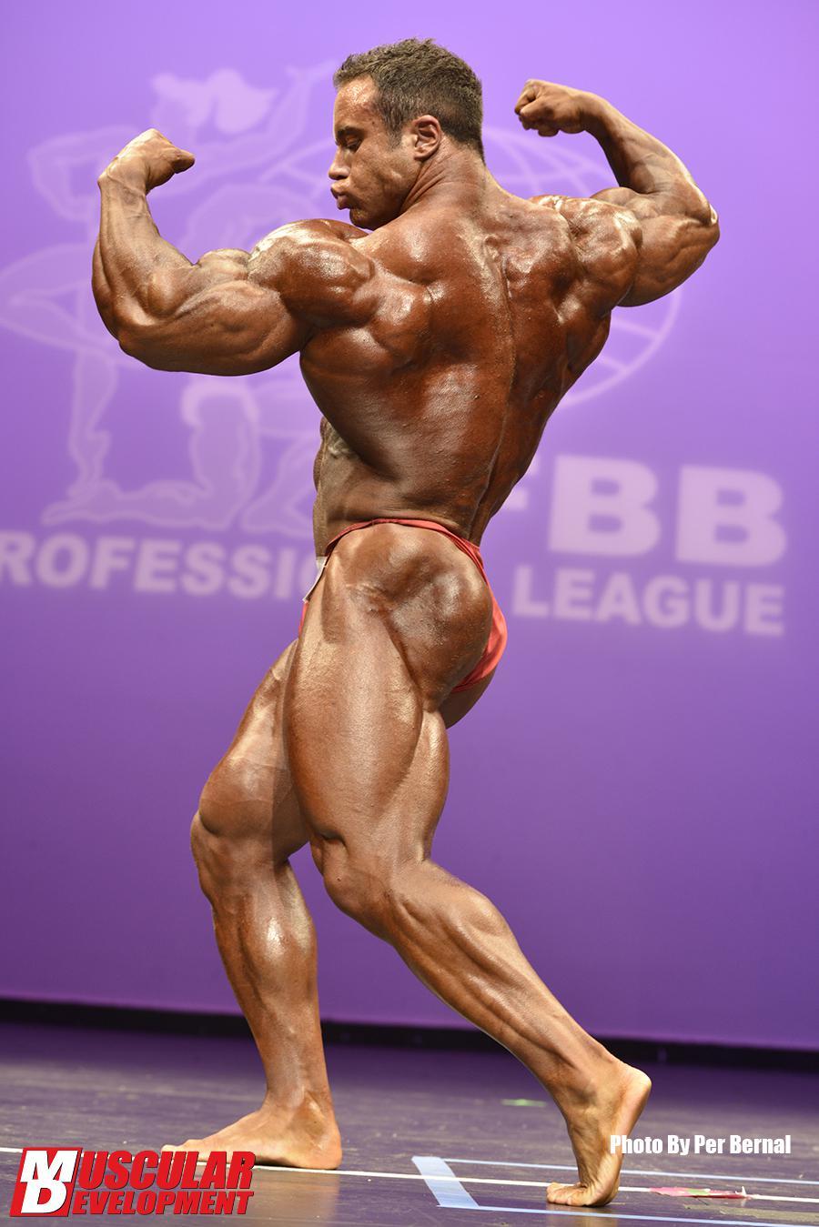 aaron clark pro ifbb sul palco del new york pro ifbb posa di schiena a 3/4