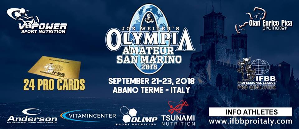 2018 olympia amateur san marino abano terme