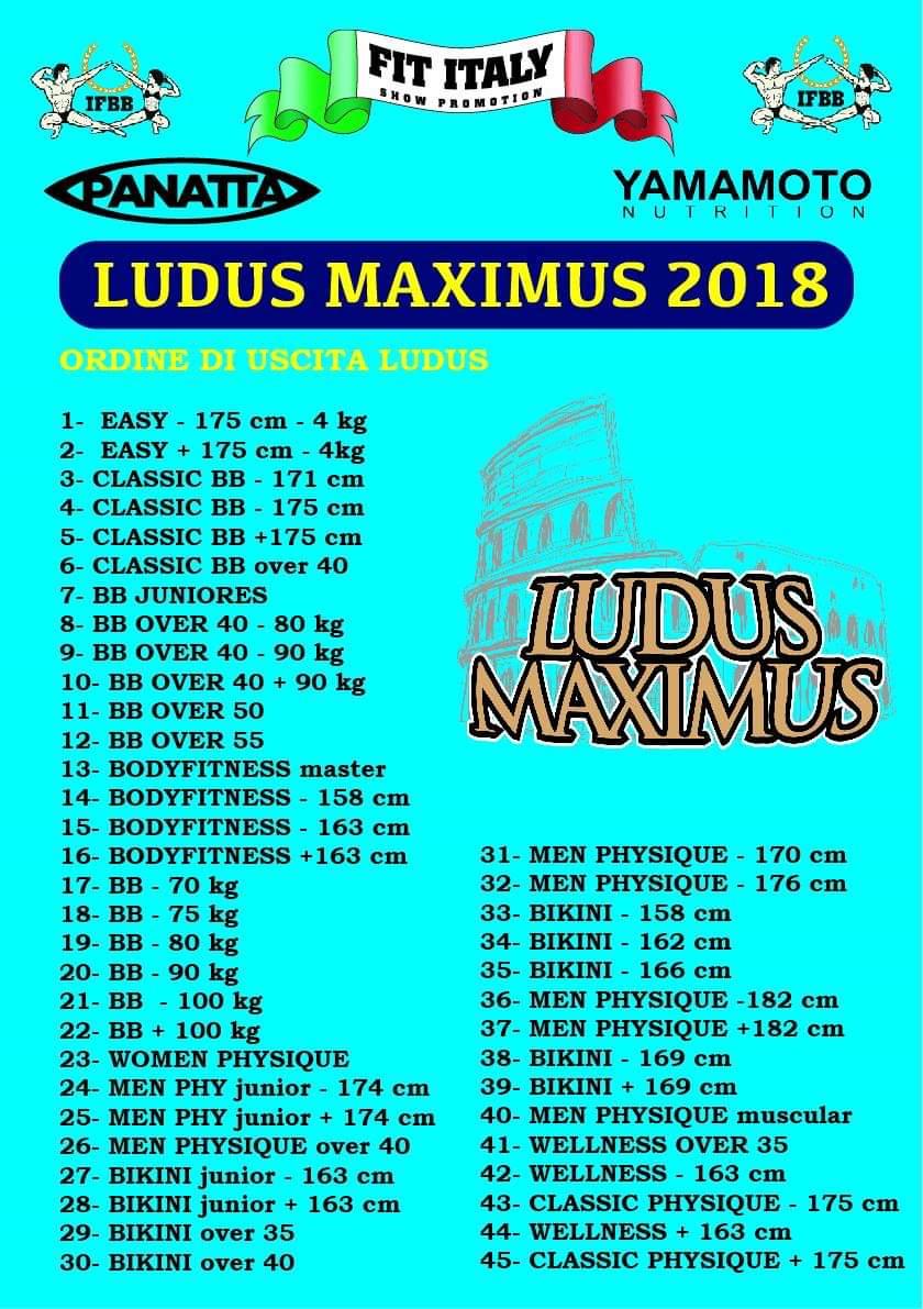 2018 ludus maximus ifbb ordine di uscita