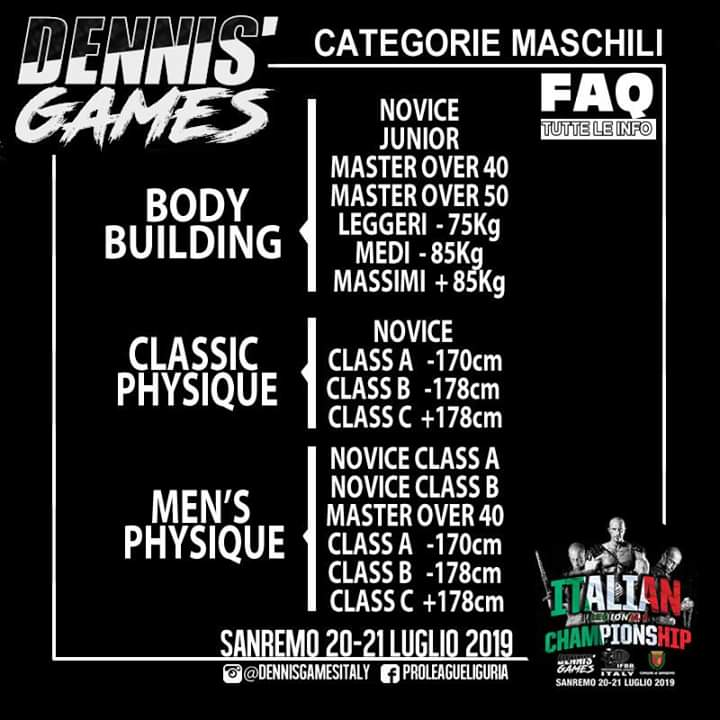 2019 italian championships categorie
