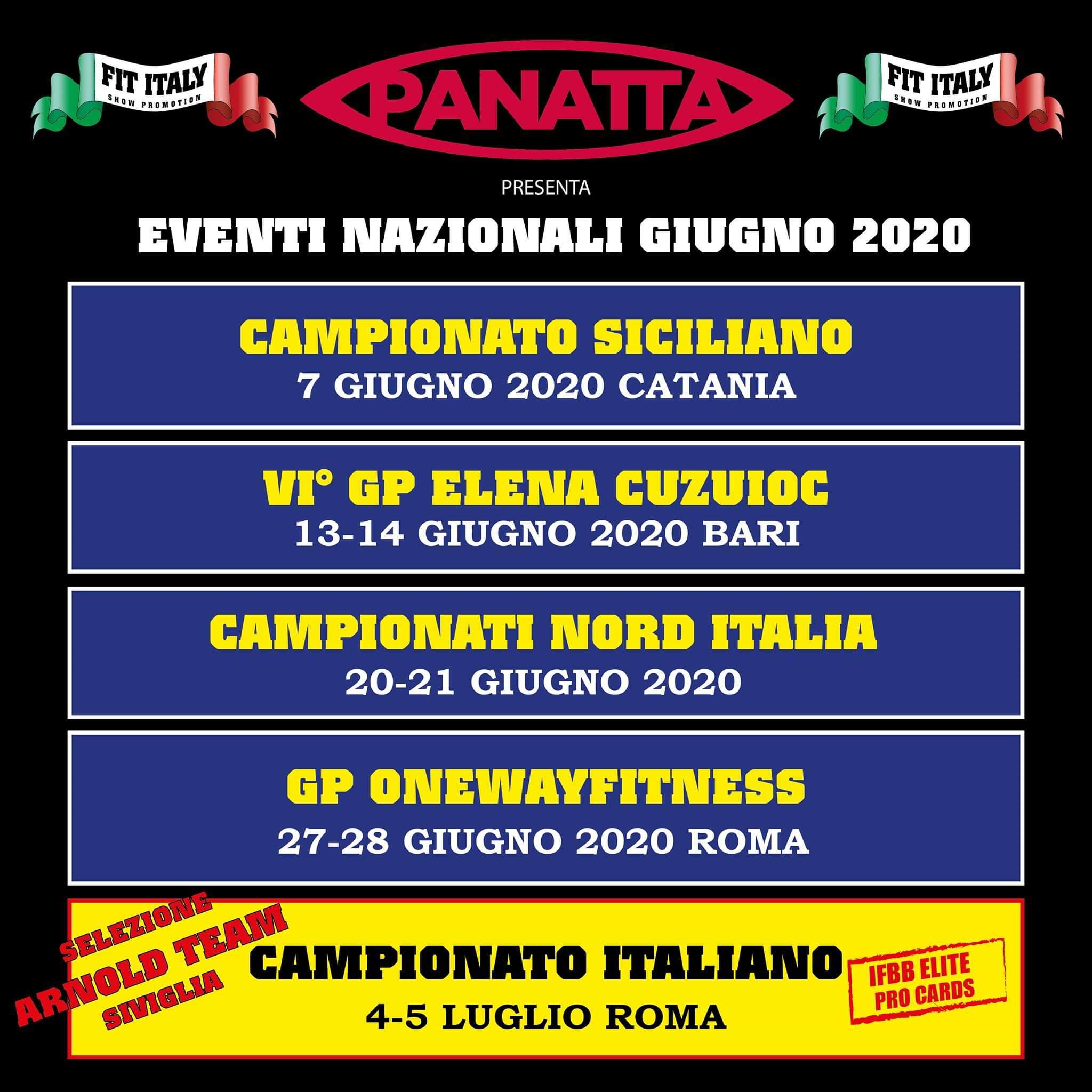 calendario gare ifbb italia 2020