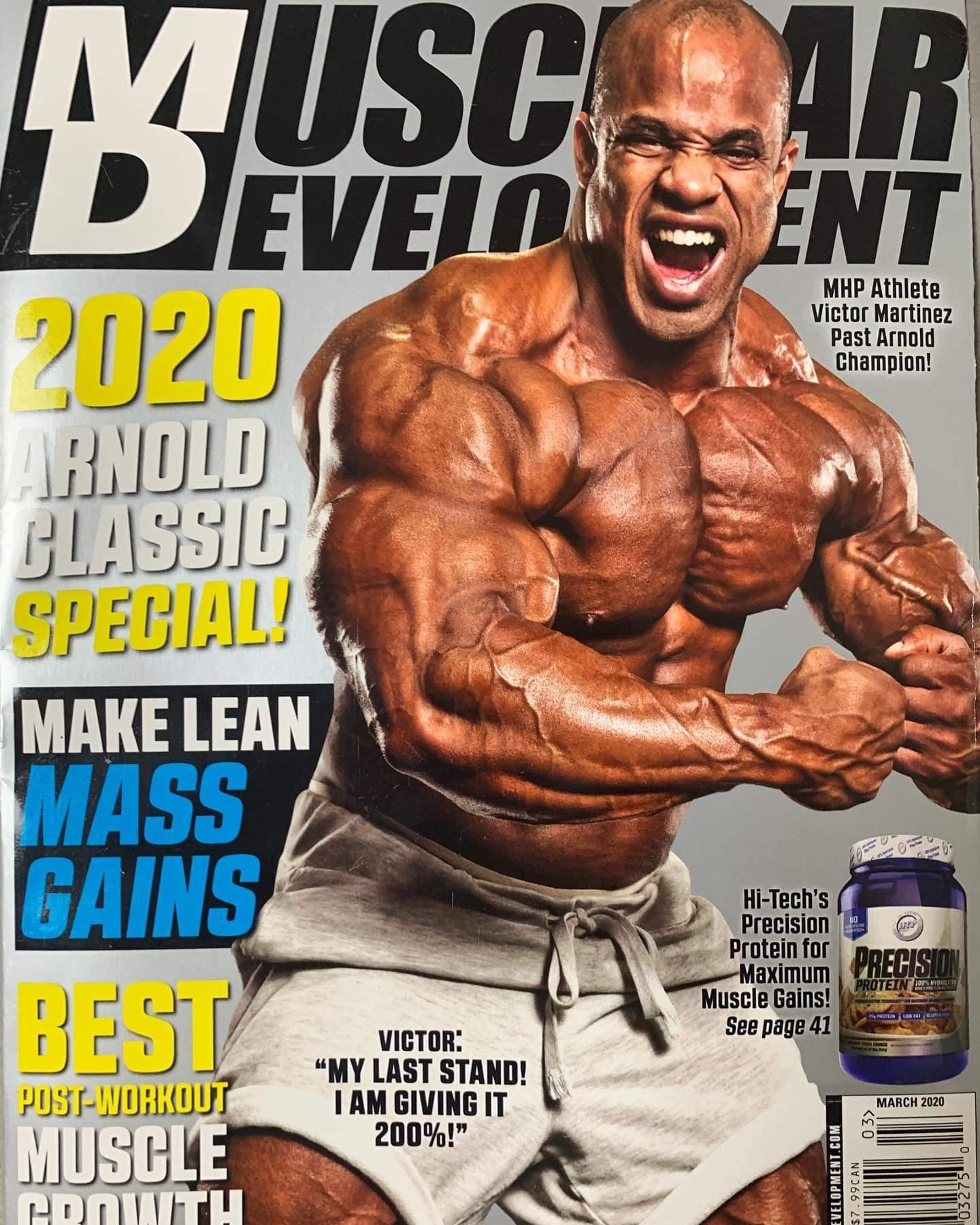 victor martinez sulla cover della rivista muscular development di marzo 2020