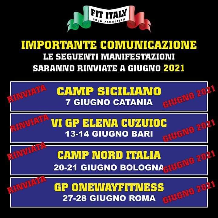 calendario gare ifbb italia 2020 giugno annullato