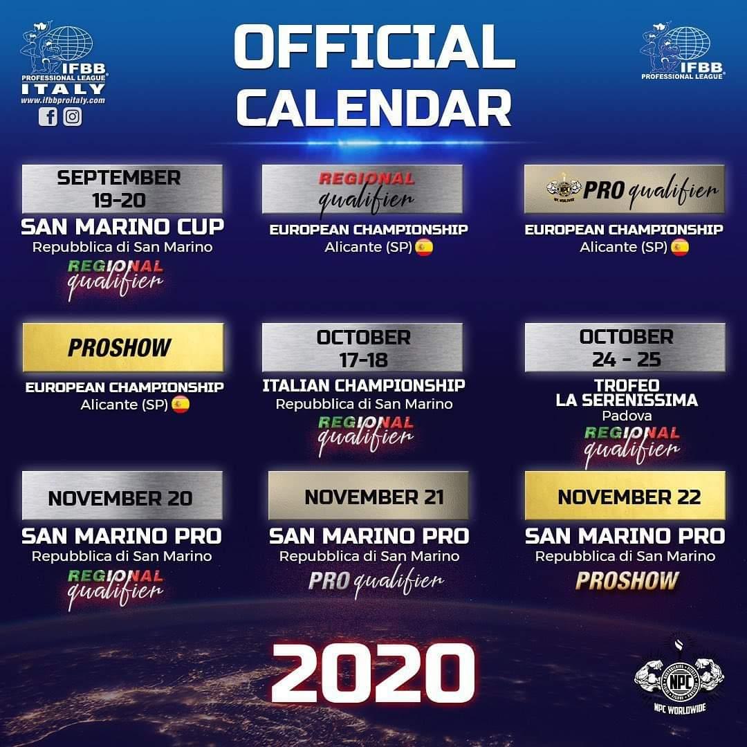 CALENDARIO GARE IFBB PRO LEAGUE ITALY 2020 – AGGIORNATO AL 24