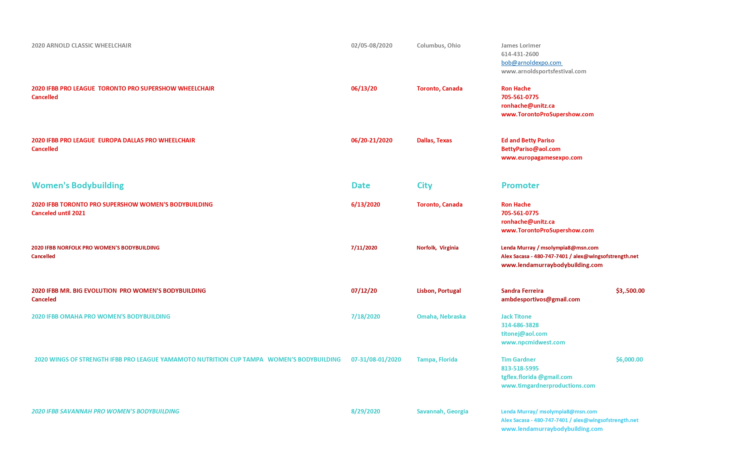 calendari completi delle gare della pro league per il 2020 aggiornato al 28 giugno 2020