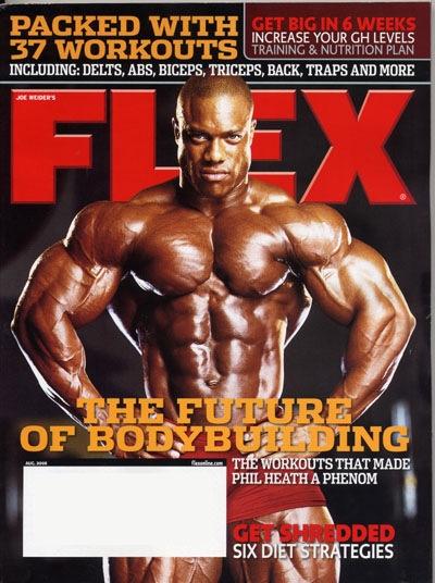 le cover delle riviste del settore di bodybuilding dedicate a PHIL HEATH flex magazine