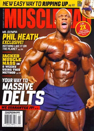 le cover delle riviste del settore di bodybuilding dedicate a PHIL HEATH muscle mag