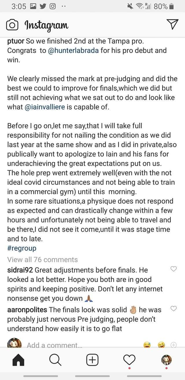 patrick tuor parla su instagram della gara di tampa 2020