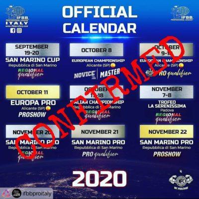 calendario IFBB PRO LEAGUE ITALY confermato ad agosto 2020