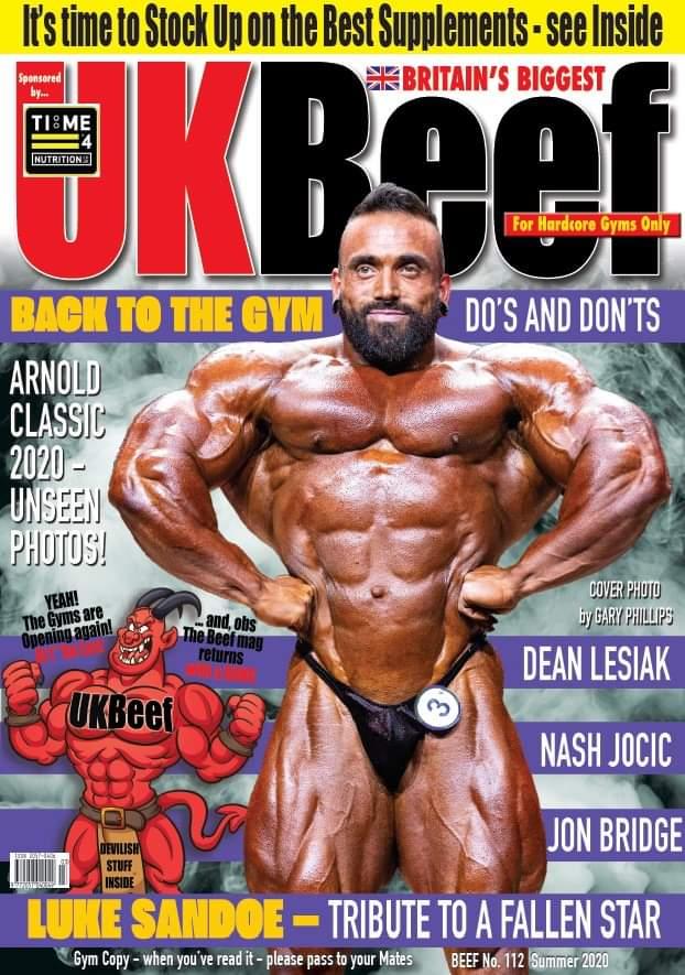 uk beef magazine agosto 2020 dedica la cover a luke sandoe pro ifbb scomparso lo scorso 7 maggio 2020