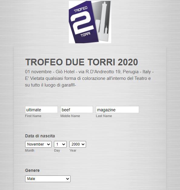 iscrizione trofeo due torri 2020 - parte 1