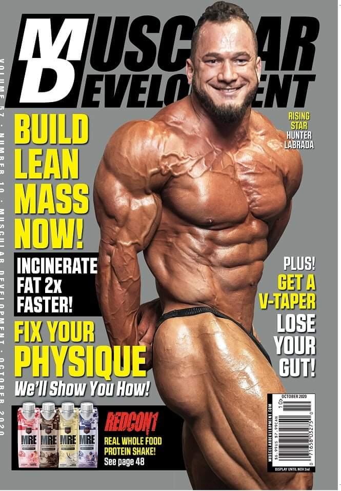 hunter labrada sulla cover della rivista muscular development di ottobre 2020