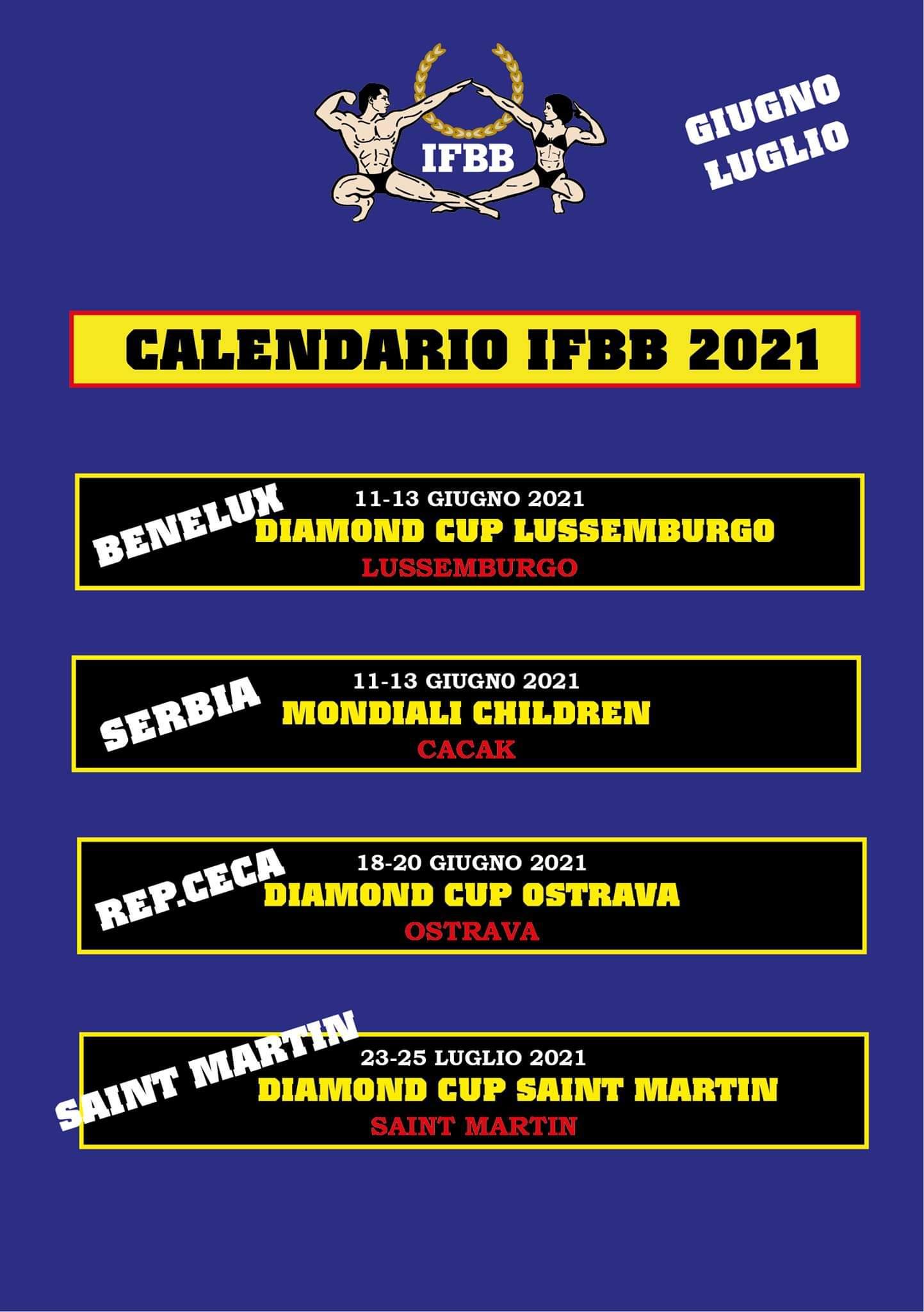 calendario gare ifbb internazionale giugno - luglio 2021
