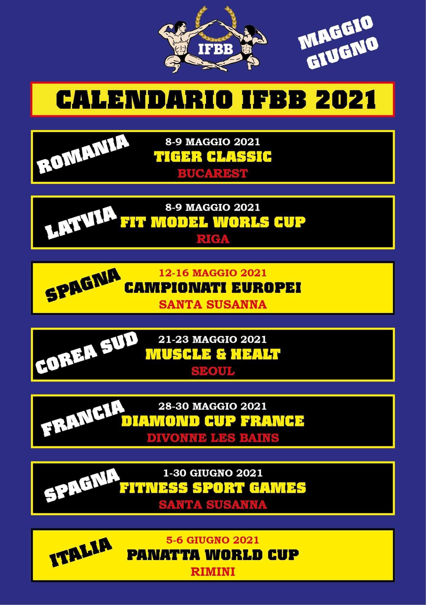 calendario gare ifbb internazionale maggio - giugno 2021