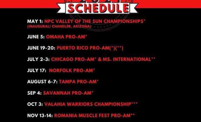 calendario gare female bodybuilding pro league per il 2021