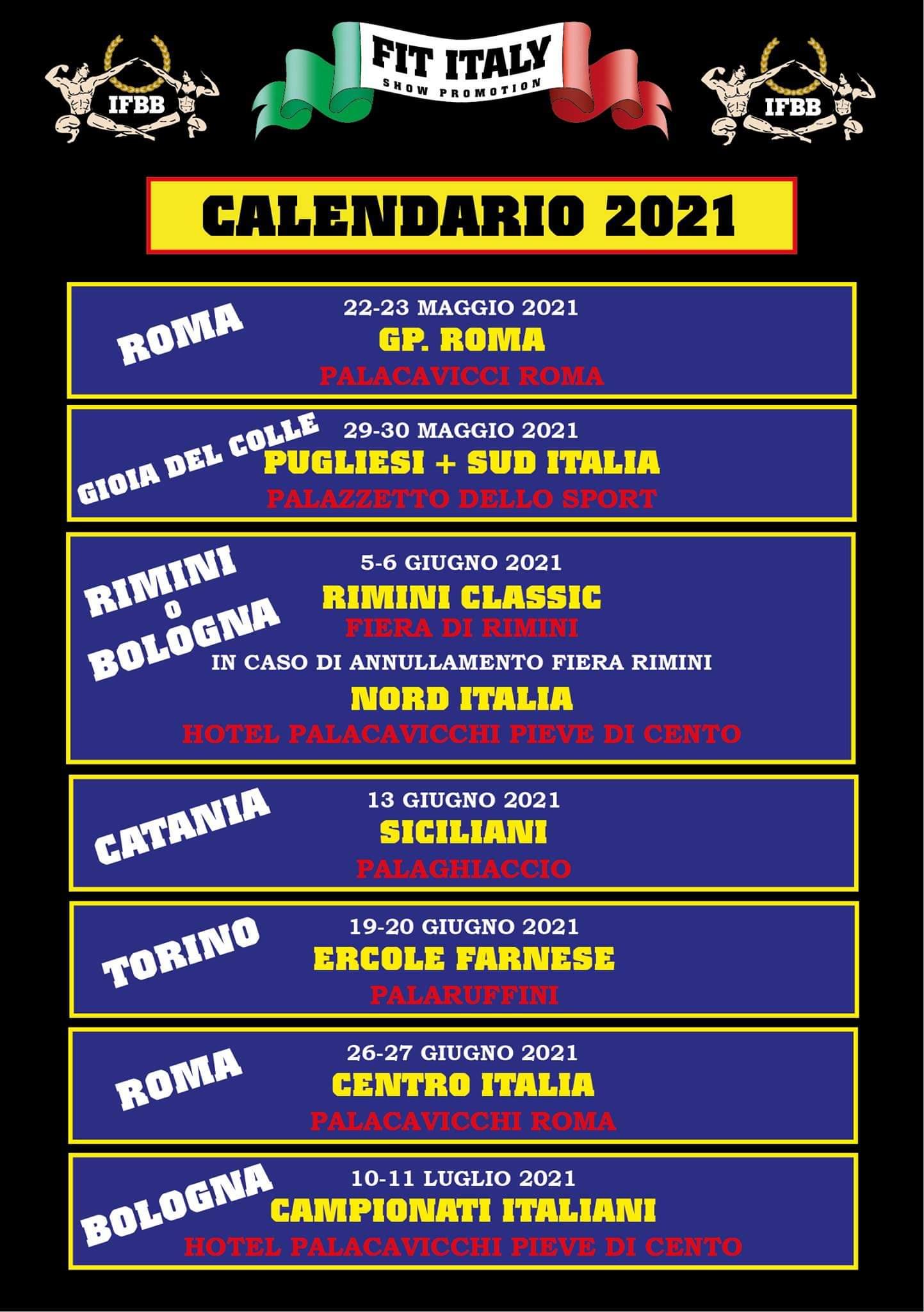 calendario gare aggiornato a febbraio 2021