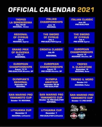 calendario PRO LEAGUE ITALY 2021 aggiornato a MAGGIO 2021