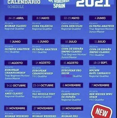 calendario gare pro league npc worldwide spagna 2021