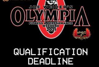 ultima data utile per la qualificazione al mister olympia 2021
