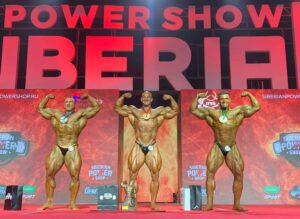 il podio della categoria men's open bodybuilding al siberian power show 2021