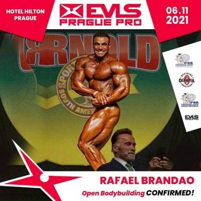 Rafael Brandao sulla cover della locandina dell'EVLS PRAGUE PRO IFBB 2021